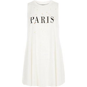Cream Paris print sleeveless tank top