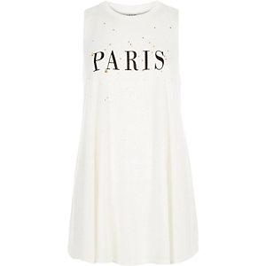 Cream Paris print sleeveless tank top