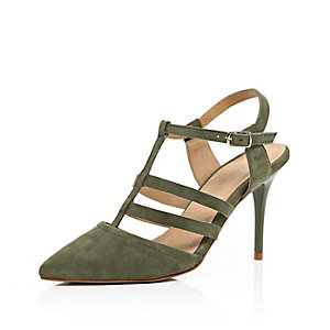Khaki nubuck leather mid heel court shoes