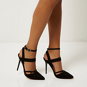 Black leather pointed strappy court heels