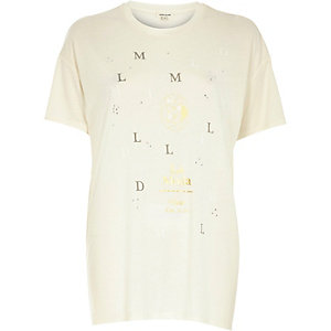 Cream metallic mode print oversized t-shirt