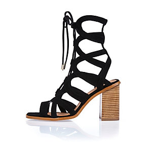 Black leather lace-up block heel sandals