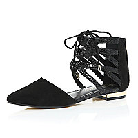 Black ghillie lace up ankle flats