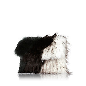 Mixed faux-fur clutch handbag