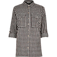 Black check button-up shirt