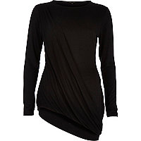 Black draped asymmetric top