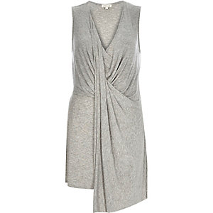 Grey drape front sleeveless top