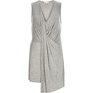 Grey drape front sleeveless top