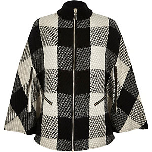 Black check zip-up cape