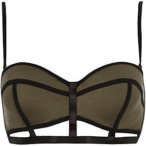 Khaki caged balconette bikini top