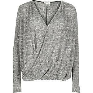 Grey wrap front top