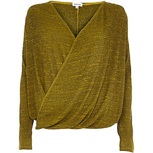 Dark yellow wrap front top