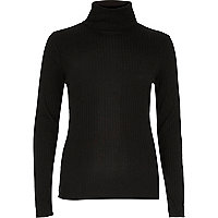 Black fitted turtle neck top