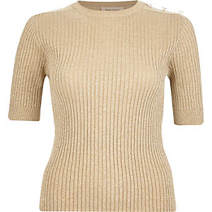 Gold knitted ribbed button shoulder top