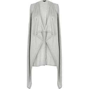 Grey split back sleeveless cardigan
