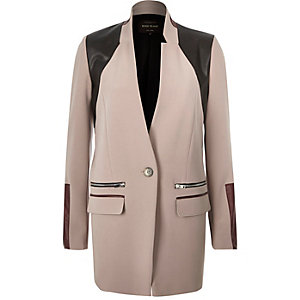 Grey panelled inverse collar jacket