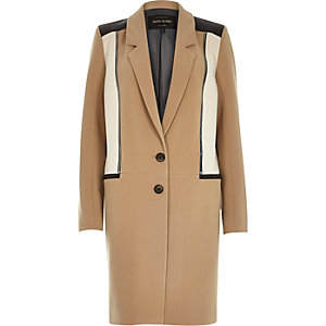 Camel brown zip front overcoat