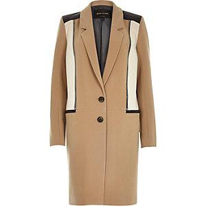 Camel brown zip front overcoat