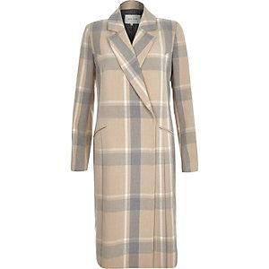 Brown and grey check coat