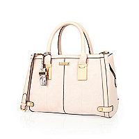 Pink hinge handle large tote handbag