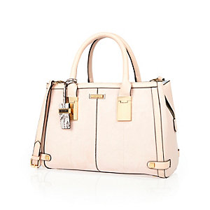 Pink hinge handle large tote handbag