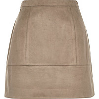 Light brown faux-suede A-line skirt