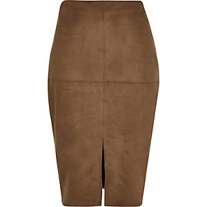 Brown faux-suede split front pencil skirt