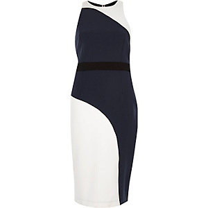 Navy curved print bodycon sleeveless dress