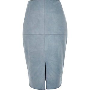 Blue faux-suede split front pencil skirt