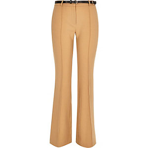 Camel brown woven flared trousers