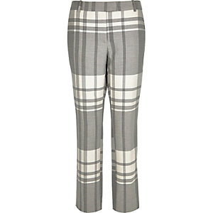 Grey check slim trousers