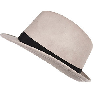 Light beige felt trilby hat