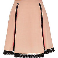 Light pink lace hem skirt