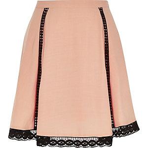 Light pink lace hem skirt