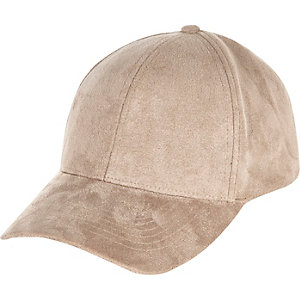 Light brown faux-suede cap