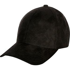 Black faux-suede cap