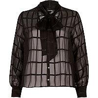 Black pussybow grid chiffon blouse