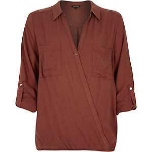 Rust brown wrap front blouse