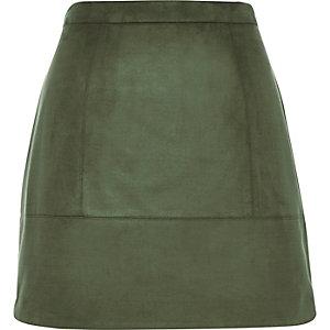 Khaki faux-suede A-line skirt