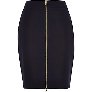 Navy zip front mini pencil skirt