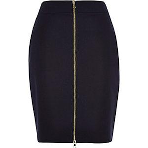 Navy zip front mini pencil skirt