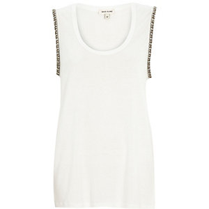 White embellished arm tank top