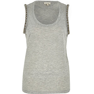 Grey embellished arm tank top