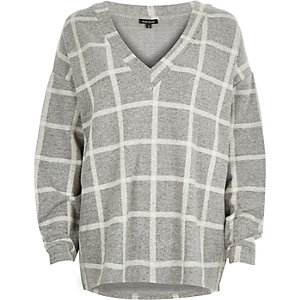 Grey check oversized sweatshirt