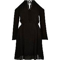 Black cold shoulder peasant dress