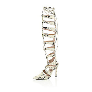 Beige leather snake print caged lace-up heels