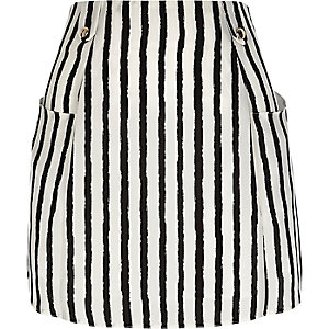 Black pocket stripe mini skirt