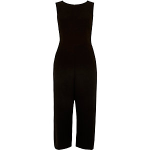 Black smart buckle side jumpsuit