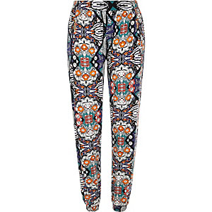 Black boho print zip trim joggers