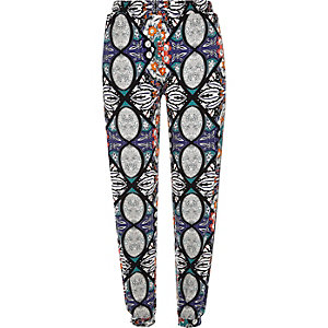Blue printed jogger trousers